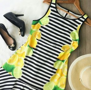 🍋Elle lemon lime black and white striped dress 12